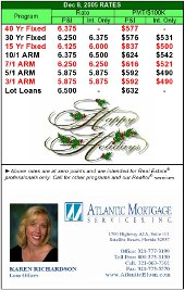 Karen Richardson's rate rate card with holiday greeting template created using Microsoft Excel