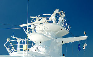 Radar mast of a cruise ship