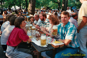 Frank Overstreet and office colleagues Sitting in a Munich Biergarten