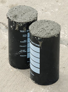 Concrete test cylinders prior to being capped